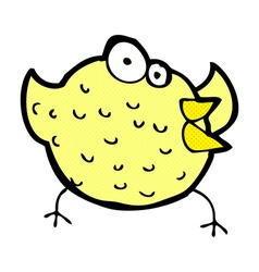 Comic cartoon happy bird vector