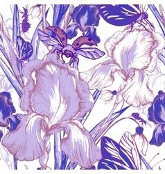 Vintage garden flowers seamless pattern vector