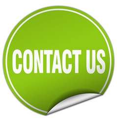 Contact us round green sticker isolated on white vector