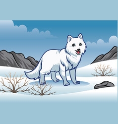 arctic fox in the snowy winter vector image vector image