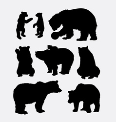 Bear wild animal silhouette vector image vector image