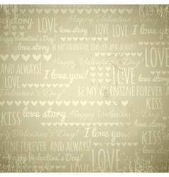 beige background with valentine hearts and text vector image