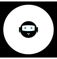 Black isolated robot head with blue eyes symbol vector