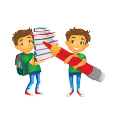 boys with big school bags set vector image