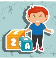 Cartoon boy cube alphabet vector