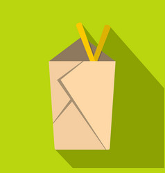 chinese take out box with chopsticks inside icon vector image