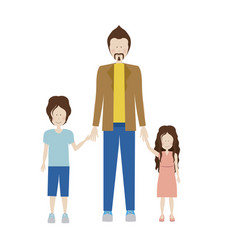 Color silhouette with kids and dad with jacket and vector
