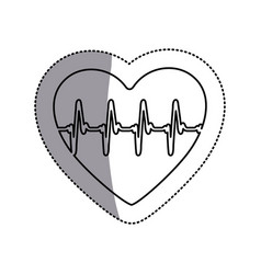 Contour symbol heartbeat with heart icon vector