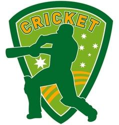cricket player batsman batting shield vector image