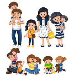 different activities with father and mother vector image vector image