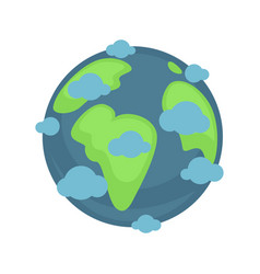 earth planet under blue clouds colorful graphic vector image