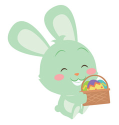 Green bunny with egg on basket easter theme vector