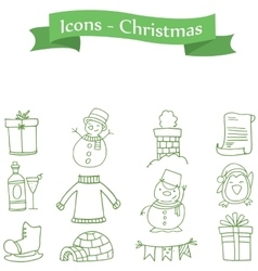Green icon christmas colection stock vector