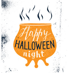 halloween design with pot silhouette and lettering vector image