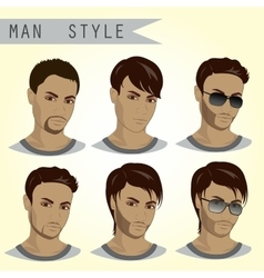 Man Hairstyles Set vector image vector image