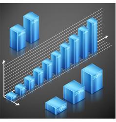metallic infographics blue elements vector image vector image