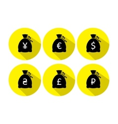Money bag icon set with currency symbol flat vector image