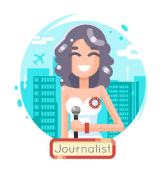 news reporting journalist reporter female girl vector image vector image