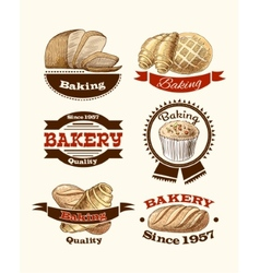 Pastry and bread labels vector image vector image