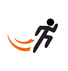 Running man logo template Black sportsman vector image
