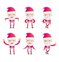 Santa in various poses vector image