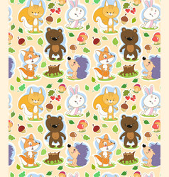 seamless cartoon pattern with cute forest animals vector image