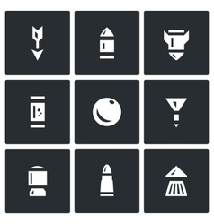 Set of ammunition icons arrow bullet vector