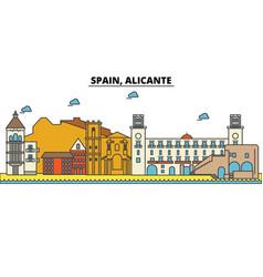 spain alicante city skyline architecture vector image vector image