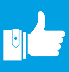 Thumbs up icon white vector