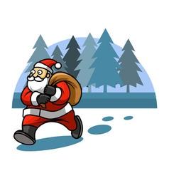 Walking santa and pine tree background vector