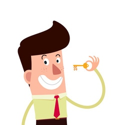 Young businessman holding a key to the success vector