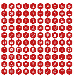 100 recreation icons hexagon red vector