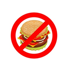 Ban hamburger stop fast food strike-through juicy vector