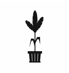 Decoration plant on pot icon simple style vector