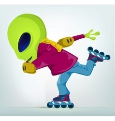 Cartoon alien rollerblade vector