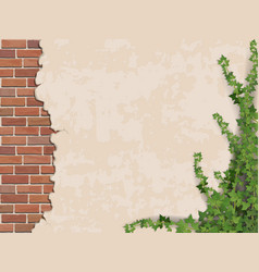 Concrete wall ivy and brick vector