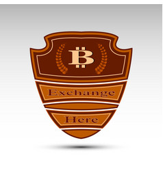 Flat shield with bit coin symbol vector