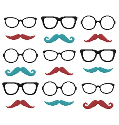 Set of pixel hipster glasses and mustache vector