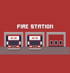 pixel art fire station vector image