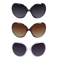three female pairs of sunglasses vector image