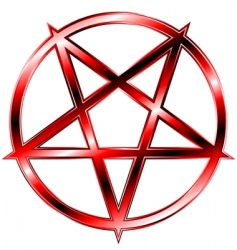 red pentagram vector image