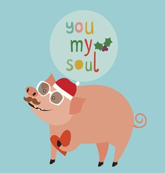 Cute holiday with pig vector