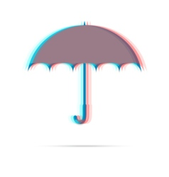 Umbrella anagliph icon with shadow vector