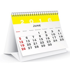 June 2016 desk calendar vector