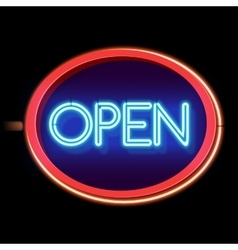 Vintage neon sign open vector