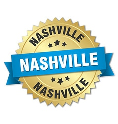 Nashville round golden badge with blue ribbon vector