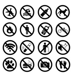 Set ban icons prohibited symbols black signs vector