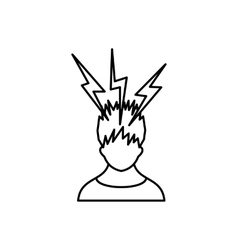 Lightning above the head of man icon vector