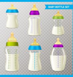 Baby bottles transparent set vector
