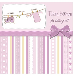 baby girl shower announcement card vector image vector image